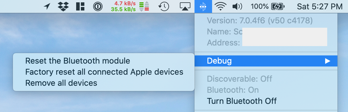 Hold shift and option when clicking the bluetooth system menu icon to access hidden debug options and info.