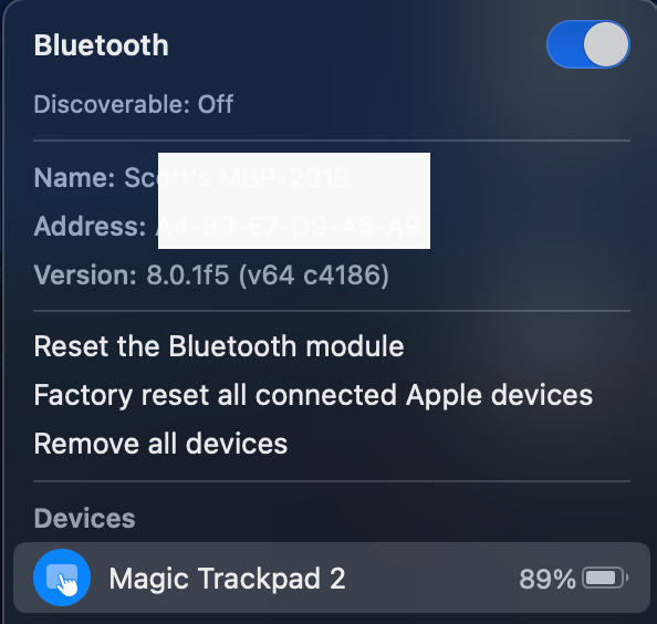 MacOS 11 Big Sur: Hold shift and option on your keyboard, then select the bluetooth menu from the menu bar or control center. Additional debug options and information will appear.
